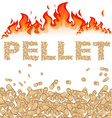 Pellet background with fire on white vector