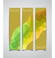 Set of three yellow geometric banners vector