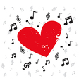 Decoration of musical notes with red heart grunge vector