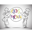 Sketch boy and girls kids menu vector