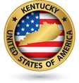 Kentucky state gold label with state map vector