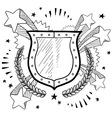 Doodle pop wreath shield vector