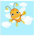 Cute bee flying in the sky vector