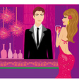 Bartender at the club and beautiful woman vector
