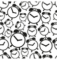 Alarm clock black and white icons seamless pattern vector