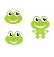 Cute green cartoon frog icons vector