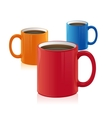 Three coffee cup set isolated on white vector