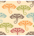 Seamless pattern with bright doodle elephants vector