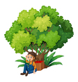 A young farmer under the tree vector