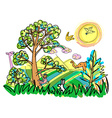 Colorful of wild with animaldoodle cartoon style vector