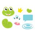 Cute frog queen icons set vector
