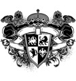 Ornamental heraldic shield with lions vector