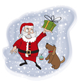 Santa claus with gift vector