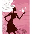 Beautiful girl silhouette vector