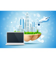 Blue background with business city laptop vector