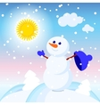 Snowman snow card sun design winter decoration vector