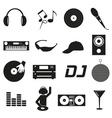 Music club dj black simple icons set eps10 vector