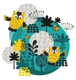 Owls bees flowers and other nature on the ball vector