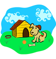 Dog sits near kennel ball and bone vector