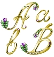 Gold alphabet with diamonds and gems letters a b vector