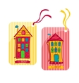 Two colorful label depicting houses in cartoon vector