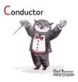 Alphabet professions owl letter c - conductor vector