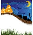 Funny jack o lanterns on a cemetery vector