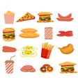 Fast food objects set vector