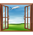 An open window with a view of the plane vector