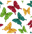Seamless background bright colorful butterflies vector