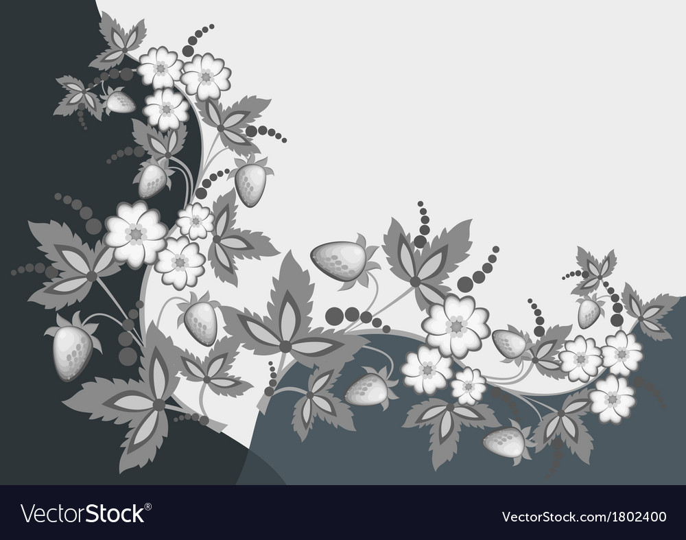 Abstract strawberries and flowers vector | Price: 1 Credit (USD $1)