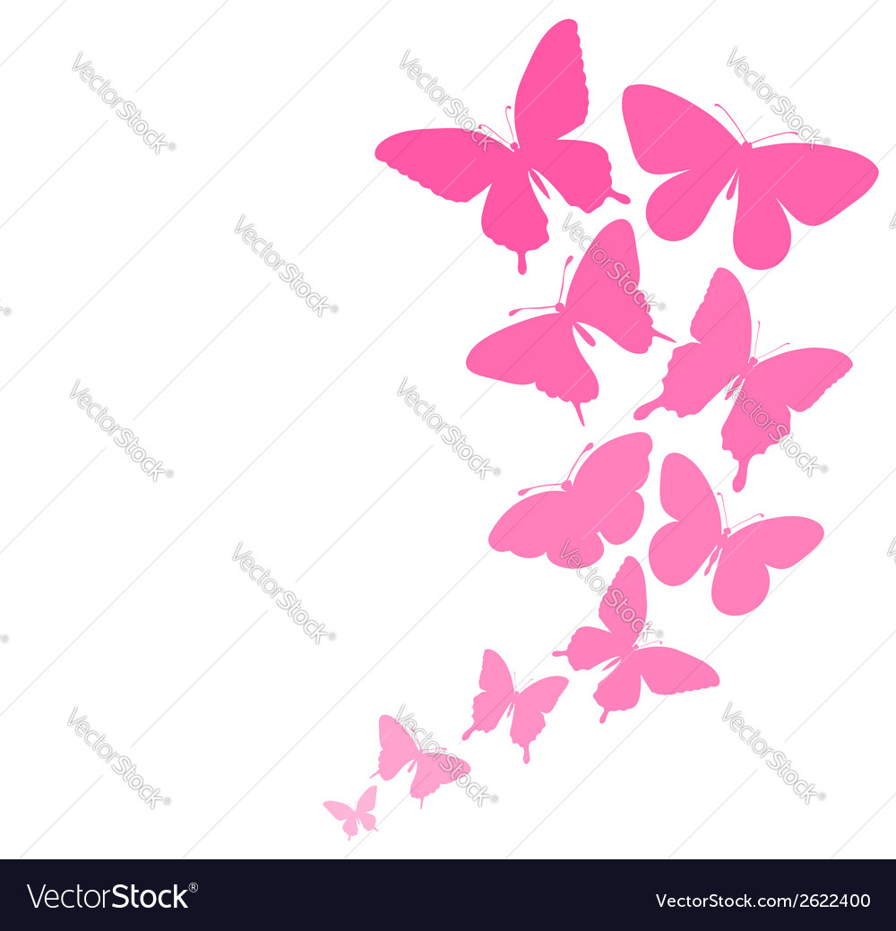Background with a border of butterflies flying vector | Price: 1 Credit (USD $1)