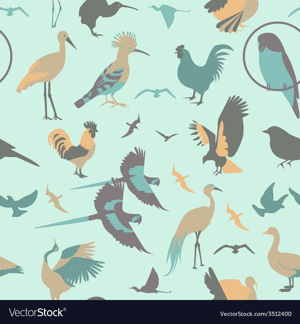Birds seamless pattern flat style vector | Price: 1 Credit (USD $1)