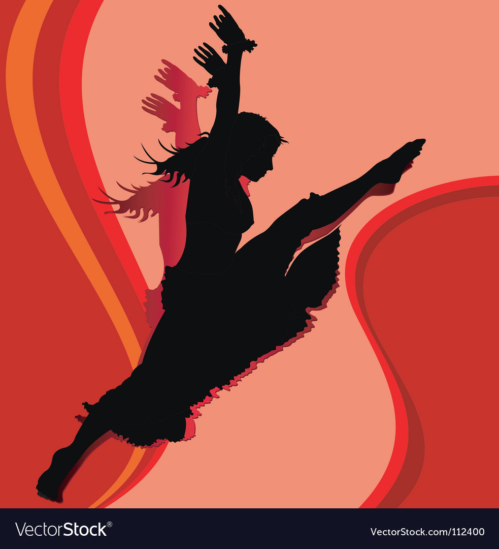 Dancing girl in red vector | Price: 1 Credit (USD $1)