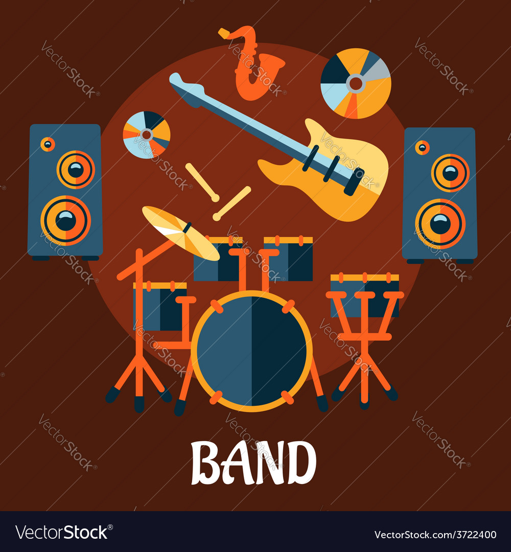 Flat musical band instruments concept vector | Price: 1 Credit (USD $1)