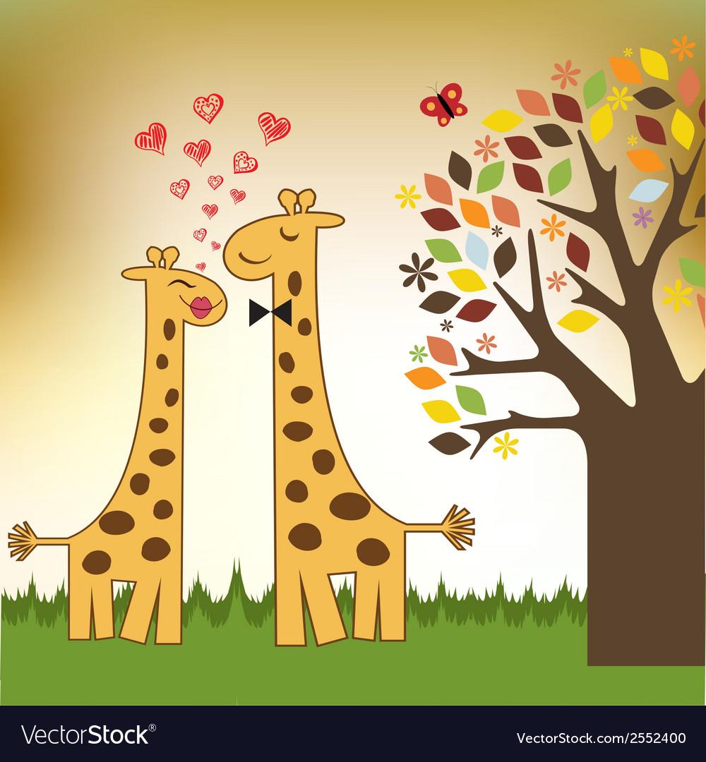 Funny giraffe couple in love vector | Price: 1 Credit (USD $1)
