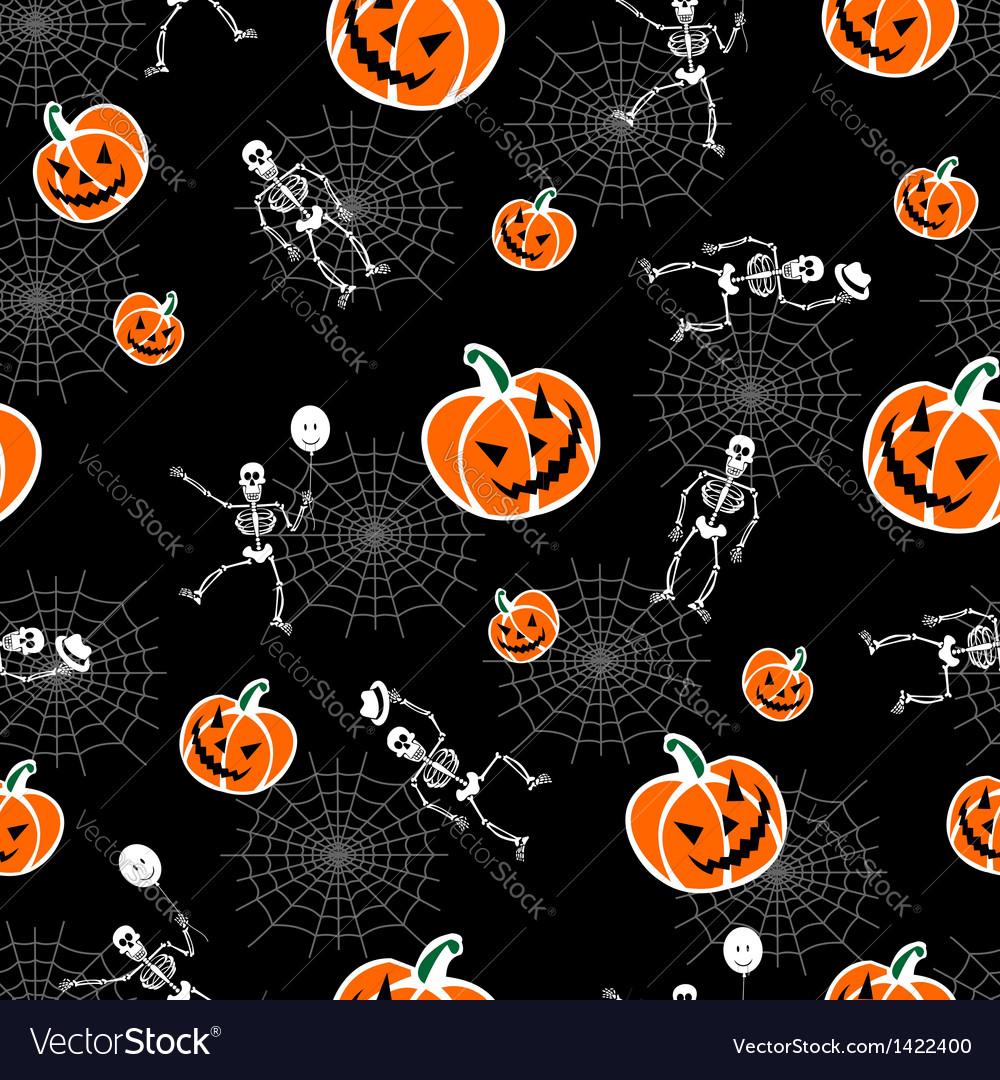 Halloween pumpkins skeleton background vector | Price: 1 Credit (USD $1)
