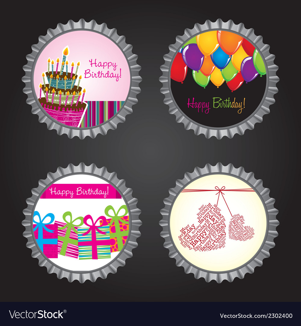 Happy birthday bottle caps vector | Price: 1 Credit (USD $1)
