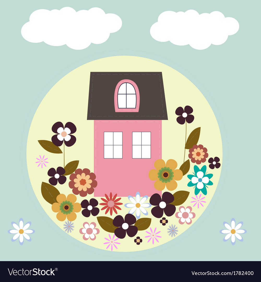 House with flowers vector | Price: 1 Credit (USD $1)