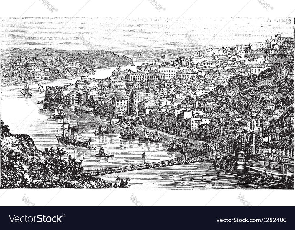 Oporto portugal vintage engraving vector | Price: 1 Credit (USD $1)