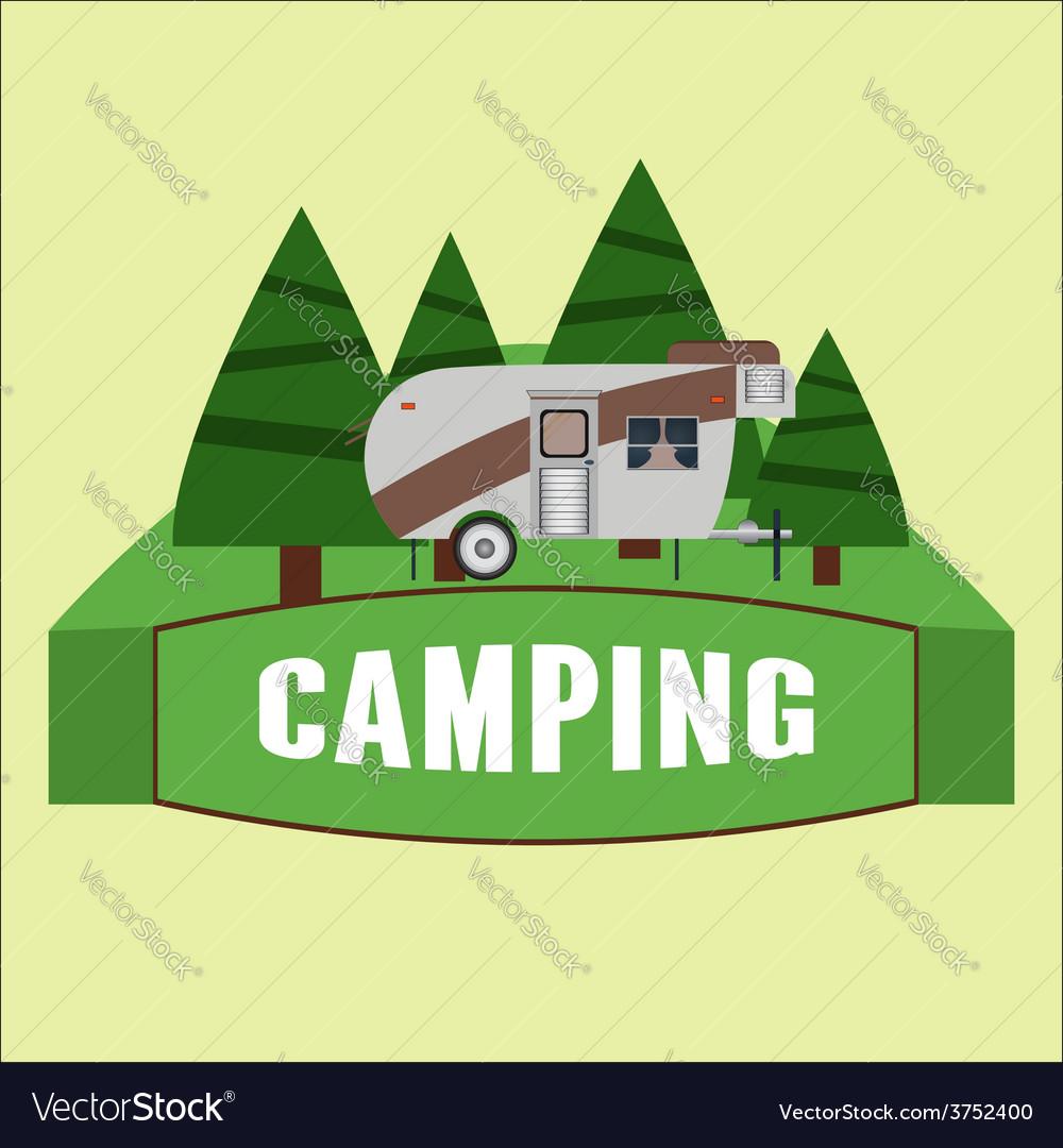 Rv camping logo and badge vector | Price: 1 Credit (USD $1)