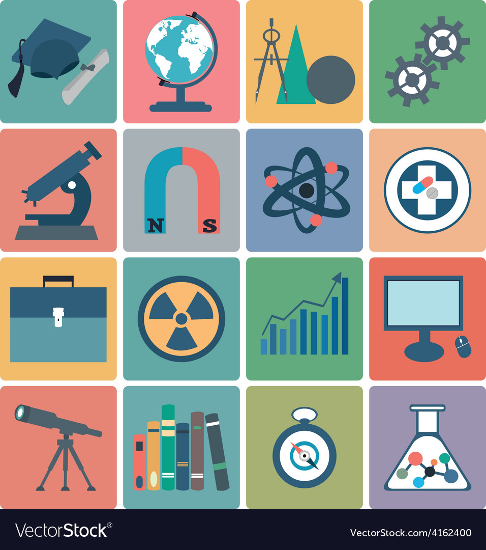 Science flat icons vector | Price: 1 Credit (USD $1)