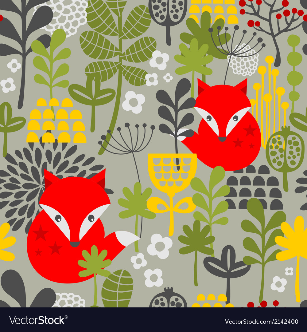 Seamless vintage fox and flowers pattern vector | Price: 1 Credit (USD $1)