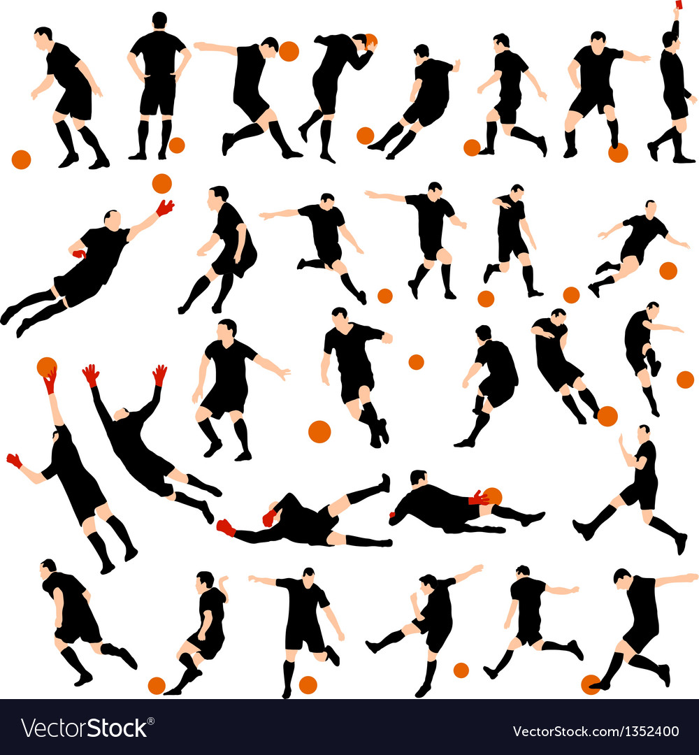 Set of detail soccer silhouettes vector | Price: 1 Credit (USD $1)