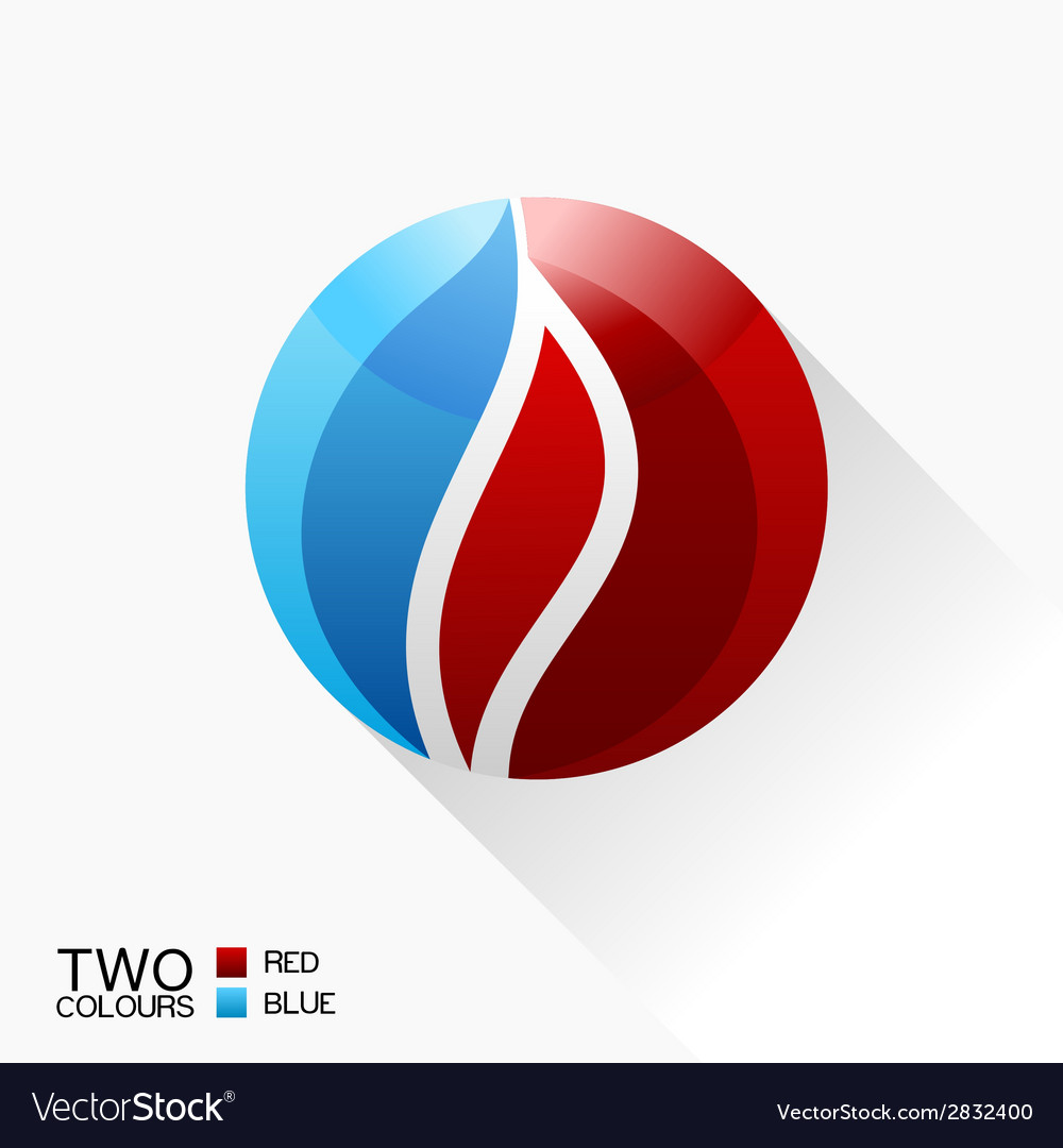Symbol fire blue and red round glass icon with vector | Price: 1 Credit (USD $1)