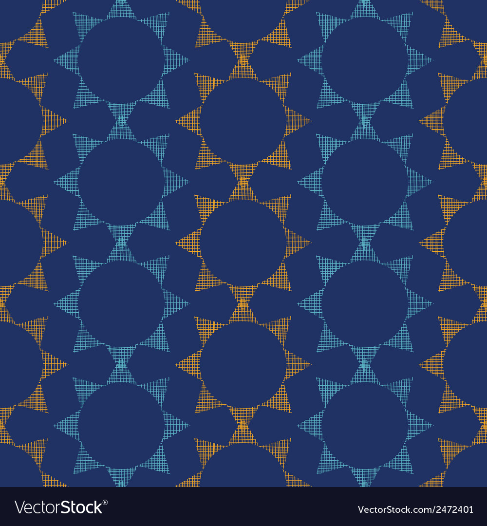 Abstract textile stars on dark geometric seamless vector | Price: 1 Credit (USD $1)