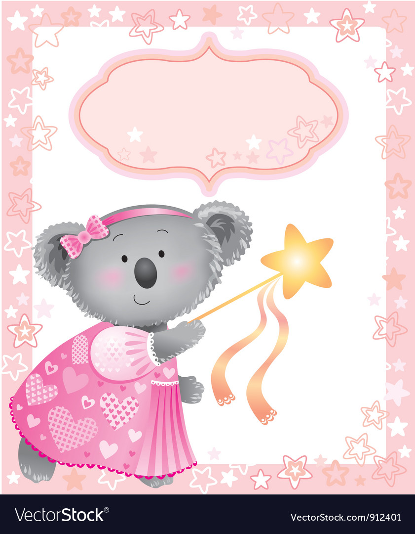 Baby pink frame with koala vector   Price: 5 Credit (USD $5)
