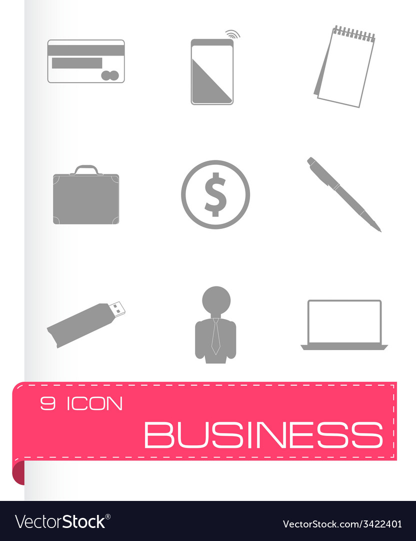 Black business icons set vector | Price: 1 Credit (USD $1)