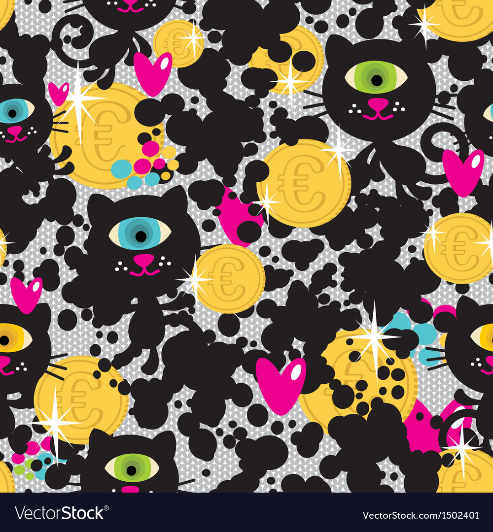 Cute monsters cats and money seamless pattern vector | Price: 1 Credit (USD $1)