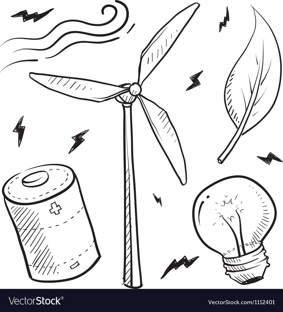 Doodle power source wind vector | Price: 1 Credit (USD $1)